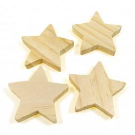 4 étoiles en bois brut 6x1cm