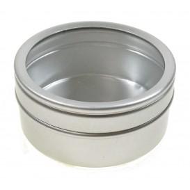boite métal ronde couvercle transparent 5cm