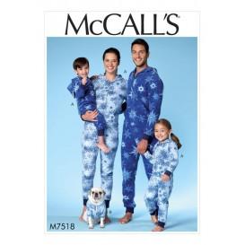 patron combinaison homme/femme/enfant McCall's M7518