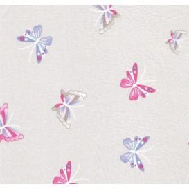 tissu popeline gris papillons largeur 145cm x 50cm