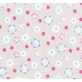 tissu popeline gris fleurs largeur 145cm x 50cm