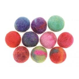 10 boules de feutrine multicolores 15mm