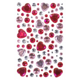106 strass adhésifs coeur camaïeu rose