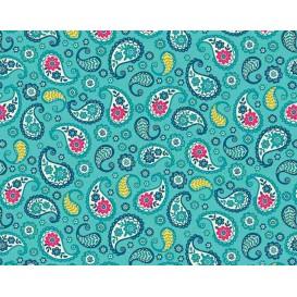 tissu patchwork makower arabesque bleue largeur 110cm x 25cm