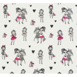 tissu jersey gris filles shopping largeur 145cm x 50cm