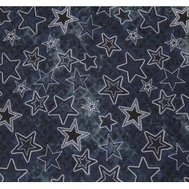 tissu jean bleu imprimé étoiles largeur 145cm x 50cm