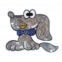 emblème paillettes chien thermocollant