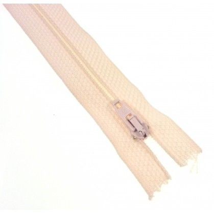 fermetures à glissières polyester rose pâle