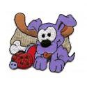 écusson chien bleu thermocollant