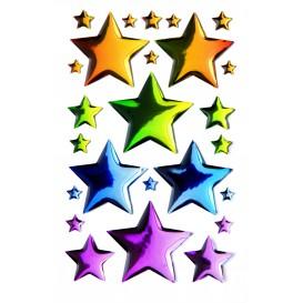 stickers crystal étoiles multicolore 25 pcs