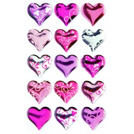 stickers crystal coeurs 15 pcs