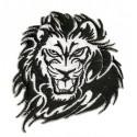 écusson tête de lion noir et blanc thermocollant