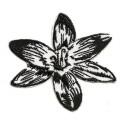écusson fleur noir et blanc thermocollant