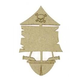 sujet en bois bateau pirate