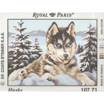kit canevas chien husky royal paris 20x18cm