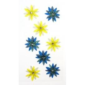 stickers fleur fancy bleu et jaune