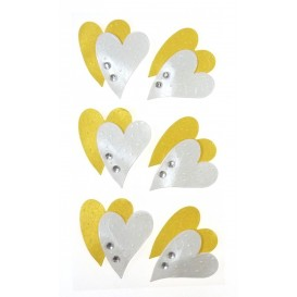 stickers coeur or et blanc