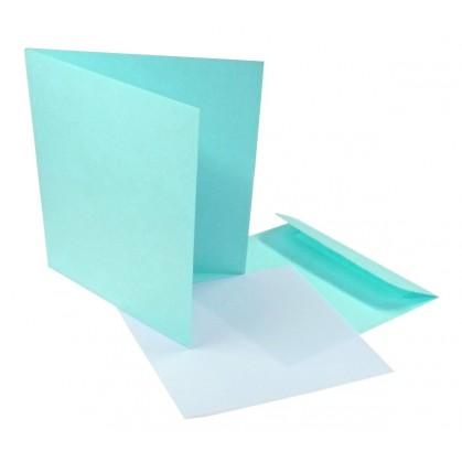 10 enveloppes et cartes bleu clair qd