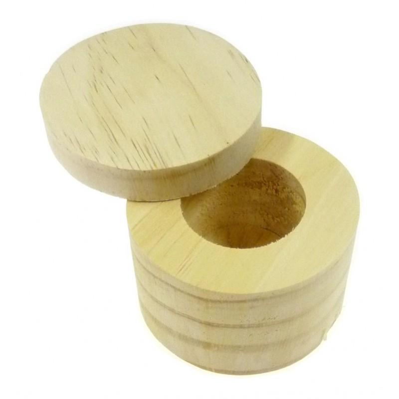 Boite ronde couvercle pivotant en bois brut d corer for Boite ronde a decorer