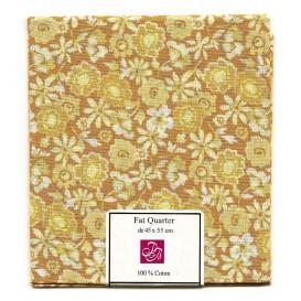 coupon patchwork imprimé fleurs marron clair