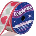bobine de ruban celebrate satin coeurs 25mm x 3m