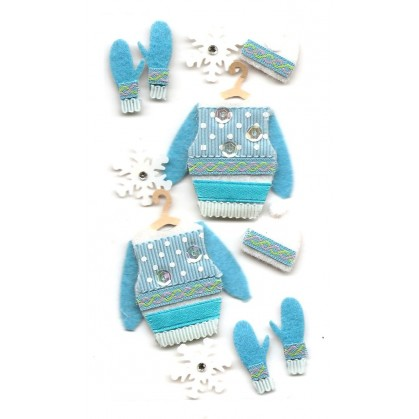 stickers noël vêtements d'hiver bleu