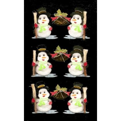 stickers noël bonhommes de neige avec balais