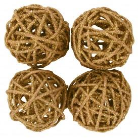 4 boules en osier or pailletée 4cm