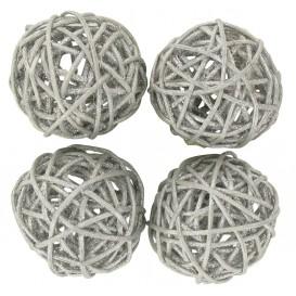 4 boules en osier argent pailletée 4cm