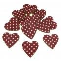 12 coeurs en bois bordeaux à pois 25mm