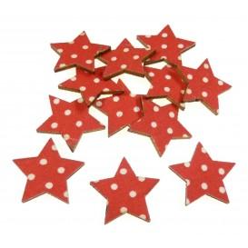 12 étoiles en bois rouge à pois 25mm