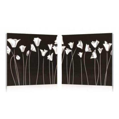 tableau numérique diptyque fleurs blanches
