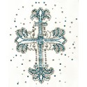 transfert en strass croix bleu/argent 19,5x23cm