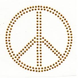 transfert en strass peace doré 10cm