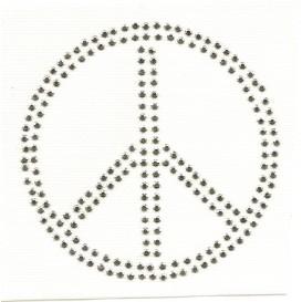 transfert en strass peace argenté 10cm
