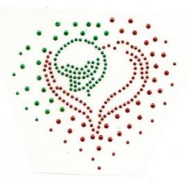 transfert en strass coeur vert et rouge 10x9cm