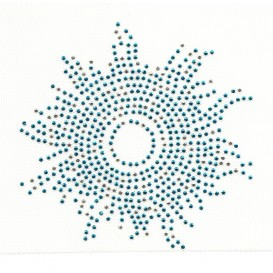 transfert en strass soleil bleu 11cm
