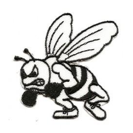 écusson abeille boxe noir et blanc thermocollant