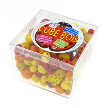 kit perles box cube perle bois orange
