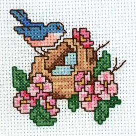 Kit broderie points comptés oiseau nid 6,7x6,4cm