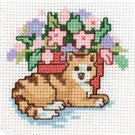 Kit broderie points comptés le chat 7,1x7,6cm