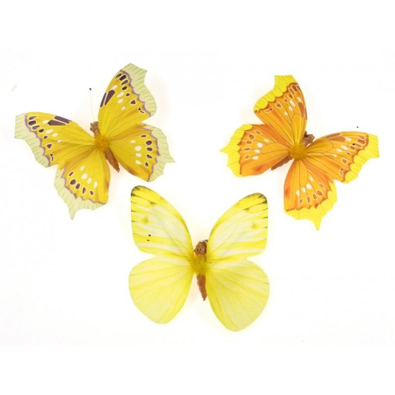 3 papillons papier avec pince assortis 8cm. Black Bedroom Furniture Sets. Home Design Ideas