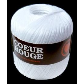 fil coton coeur rouge pour crochet blanc 100g