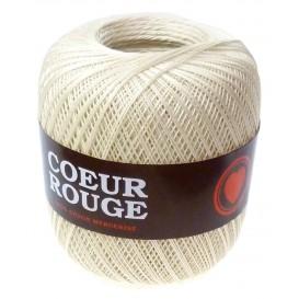 fil coton coeur rouge pour crochet écru 100g