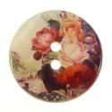 bouton nacre imprimé fleurs 27mm n°4