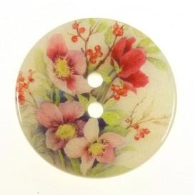 bouton nacre imprimé fleurs 27mm n°5
