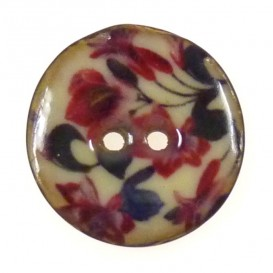 bouton coco laqué imprimé fleurs 25mm n°3