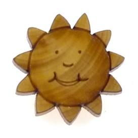 bouton fantaisie bois soleil