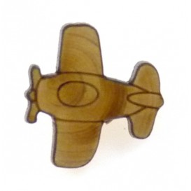 bouton fantaisie bois avion
