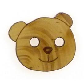 bouton fantaisie bois tête d'ourson 25mm